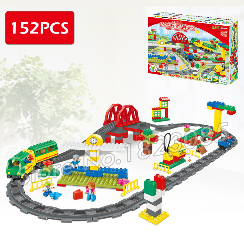 152pcs ville Deluxe Train Set High-speed Rail Model Big Size Building Blocks Bricks Toys Compatible With Lego Duplo high quality new space rail funny model building kit rollercoaster toys spacerail level 9 diy spacewarp erector set 70000mm