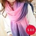 Бесплатная доставка женщины длинные пашмины украл кисточки зимой градиент цвета шерстяной шарф обруча шали градиент шарф краситель матч шарф