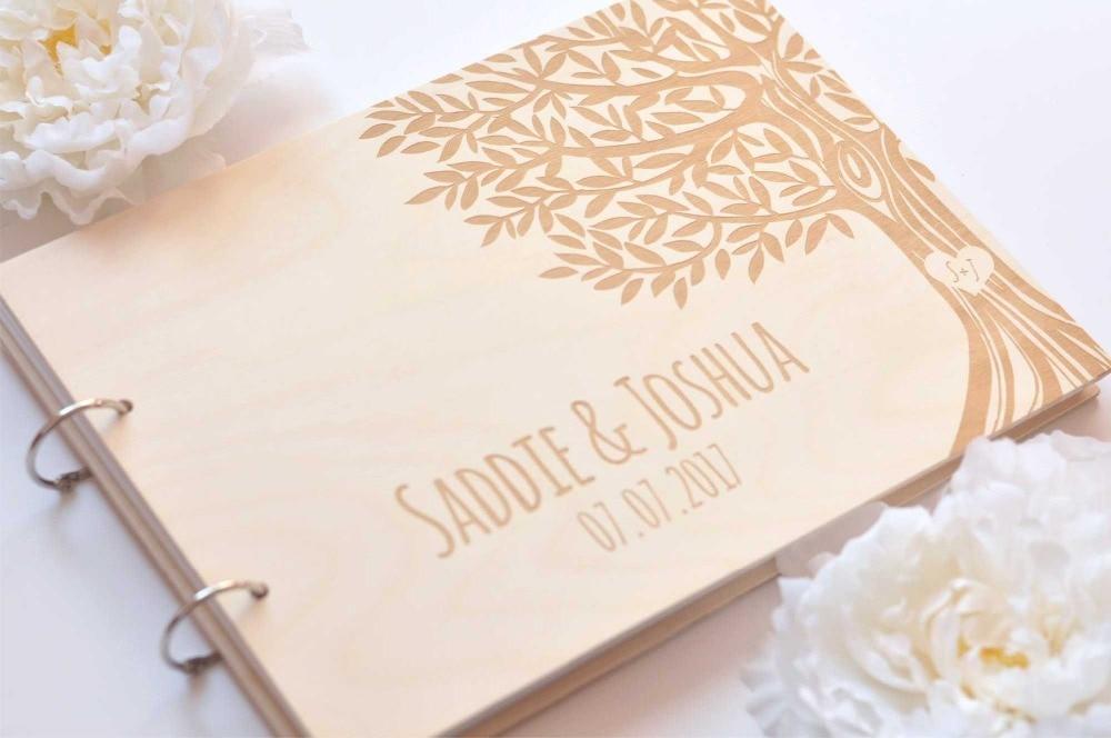 Rustic engraved Tree wedding guestbook,Custom Mr  Mrs wooden