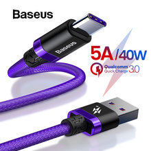 Baseus 5A Supercharge USB Type C Cable for Huawei Mate 20 P20 Lite P30 Quick Charge 3.0 Ca