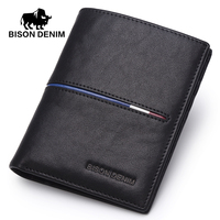 BISON DENIM Genuine Cowskin Leather Men Wallets Multi Functional Cowhide Coin Purse Genuine Leather Wallet For