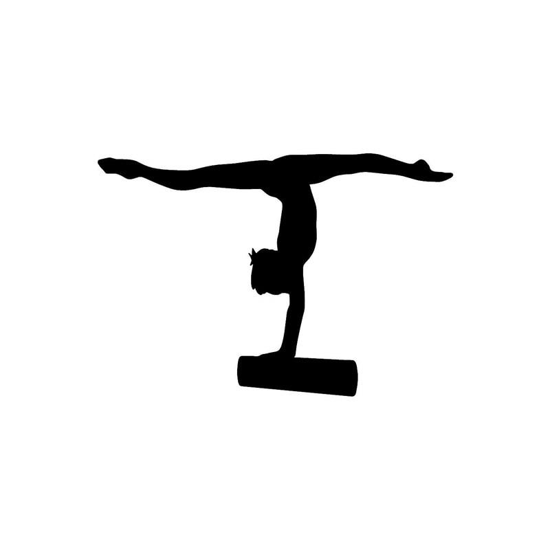 14 9 5cm Women S Gymnastics Balance Beam Vinyl Car Sticker
