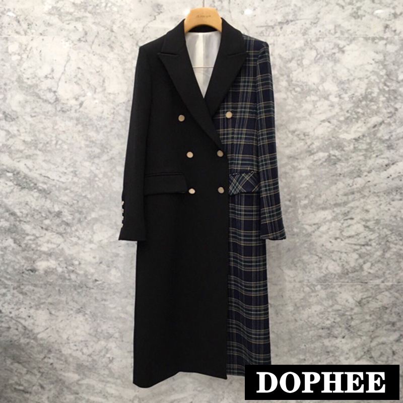 2019 New Korean Spring And Autumn Plaid Splice Small Suit Jacket Women Retro Long Blazer Coat Double-breasted Trench Outwear