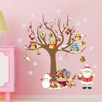 Christmas Decoration Wall Sticker Owl On The Tree Santa Claus Snowflake Gift PVC Interior Wall Decals