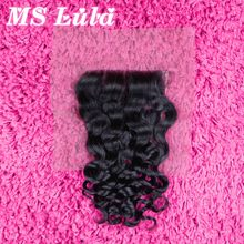 2016 Free shipping Ms Lula Hair 4×4 size lace Closure Human hair Brazilian virgin hair Roman Curl lace closure full and soft