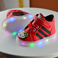 2017 Baby girl boy kid hello kitty shoes Pu Board shoes with LED for Child girl boy casual shoes 21-30 for 1-6year