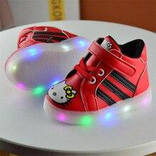 2017 Bébé fille garçon enfant bonjour kitty shoes Pu Conseil shoes avec LED pour Enfant fille garçon casual shoes 21-30 pour 1-six années TX07
