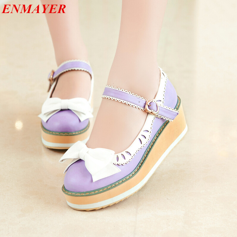 women pumps Janes Closed Toe Cone Heels Wedges casual shoes pumps sweet Platform pumps new large size 34-43 2016 new wedges platform shoes with comfort women bowtie buckle casual shoes sweet solid pumps round toe large size shoes