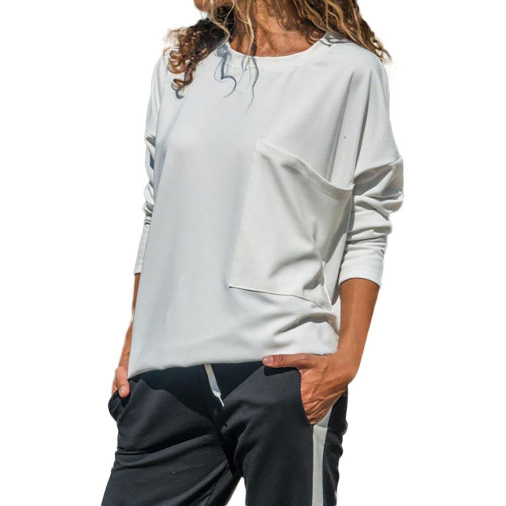 Womens tops and blouses 2018 camisa feminina autumn casual loose o neck long sleeve pocket tops shirt women blouses