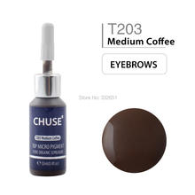 CHUSE T203 Medium Coffee Microblading Micro Pigment Permanent Makeup Tattoo Ink Cosmetic Color Passed SGS,DermaTest 12ml(0.4floz