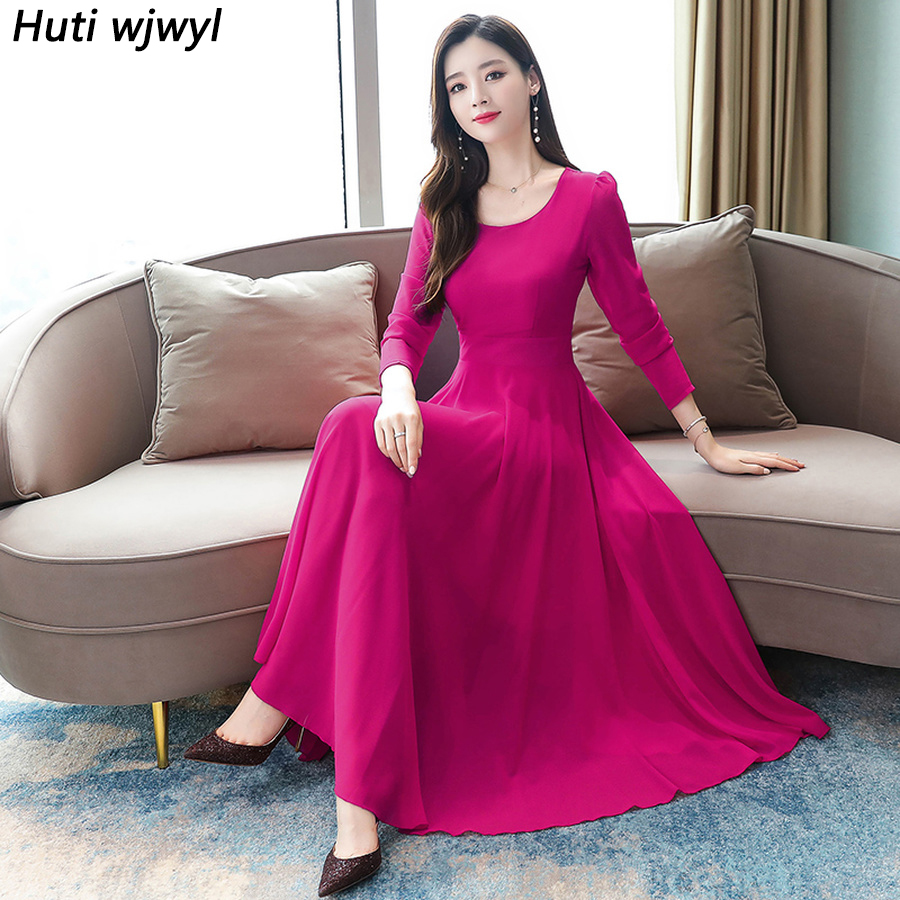 2019 <font><b>Vintage</b></font> Solid Long Sleeve <font><b>Maxi</b></font> Dresses Autumn Winter 3XL Plus Size Chiffon Midi Dress Elegant Women Bodycon Party <font><b>Vestidos</b></font> image