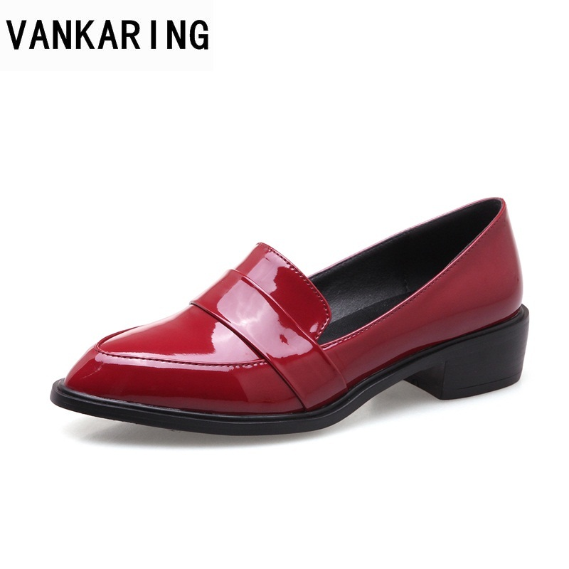 VANKARING new 2018 spring women flats shoes patent leather flat heels pointed toe black red shoes woman dress casual date shoes beffery 2018 spring patent leather shoes women flats round toe casual shoes vintage british style flats platform shoes for women