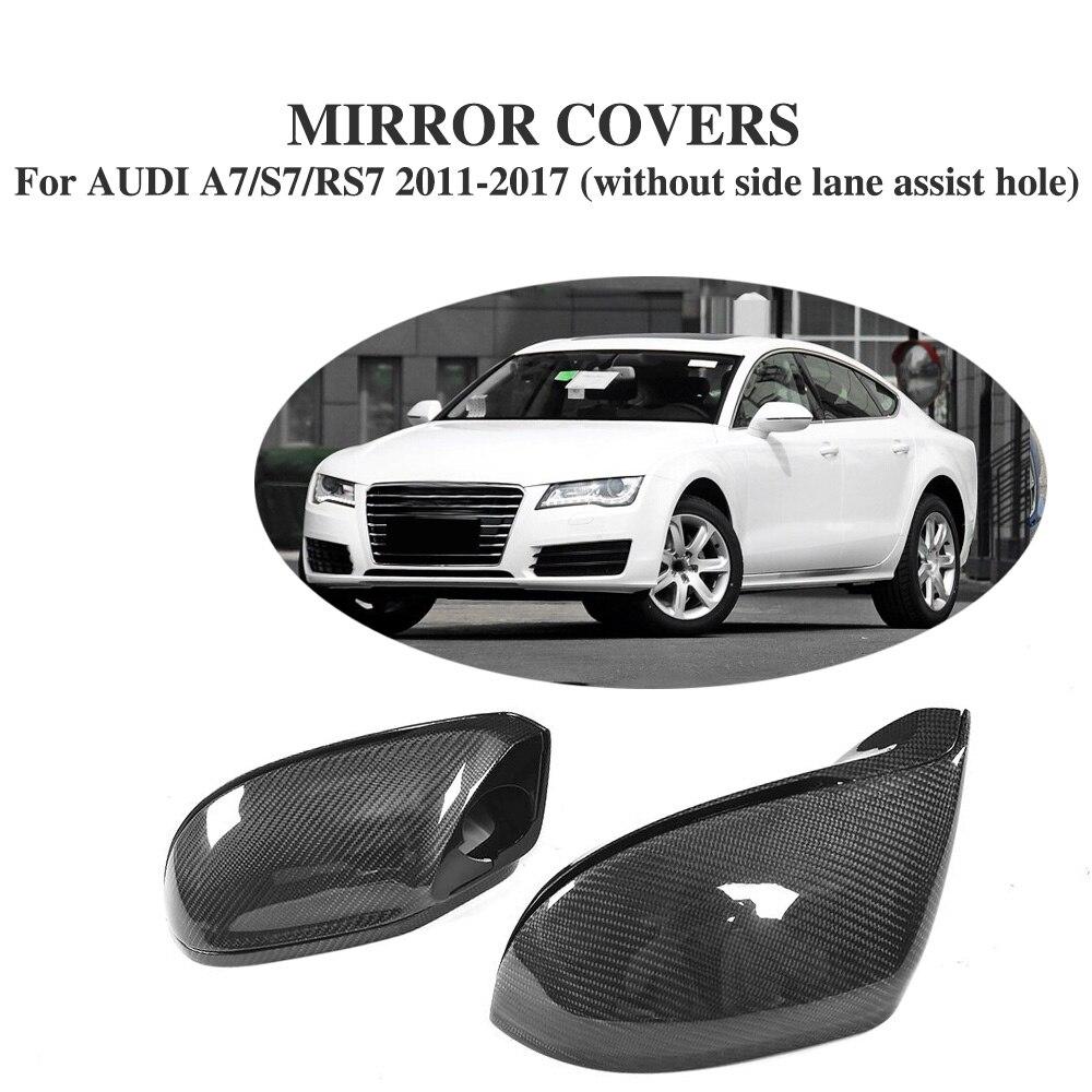 Fibre De carbone Side Rétroviseur Couvre Caps pour Audi A7/S7/RS7 2011-17 sans côté lane assist trou Style De Remplacement