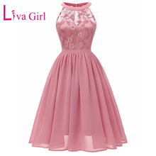 LIVA GIRL Vintage Floral Lace Bridesmaid Party A-Line Dress Women 2019 Summer Sexy Sleeveless Swing Chiffon Midi Dresses S-XXL