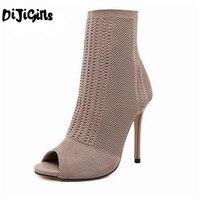 DiJi בנות מגפי נשים 2018 אופנה אירופה סריגת גרבי הבוהן פיפ הנעל גבוהה חלול דק עקבי הנעל קרסול מגפי Sapatos