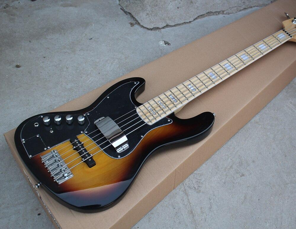 Electric Bass Guitar Cover : factory sunburst 5 strings left hand electric bass guitar with black pickguard maple fretboard ~ Vivirlamusica.com Haus und Dekorationen