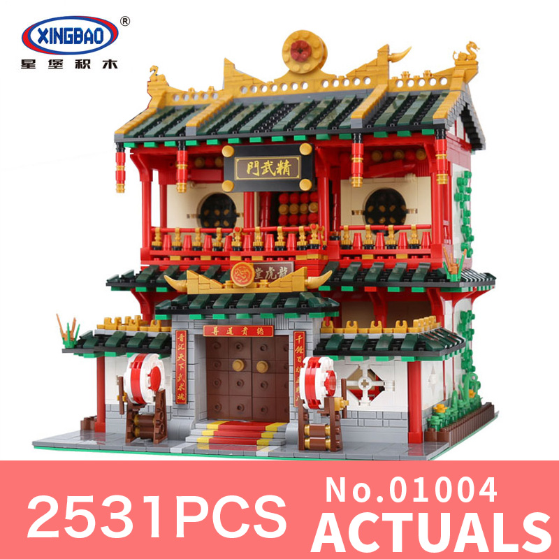 цены XingBao 01004 2531Pcs Block Genuine Creative Building Series The Chinese Martial Arts Set Building Blocks Bricks DIY Toys Model
