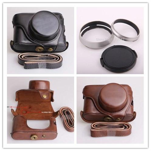 3ni1 1pcs Black Leather Camera Case Bag Fujifilm Fuji X100 Finepix 1pcs Lens Hood Adapter Ring 1pcs 58mm Lens Cap