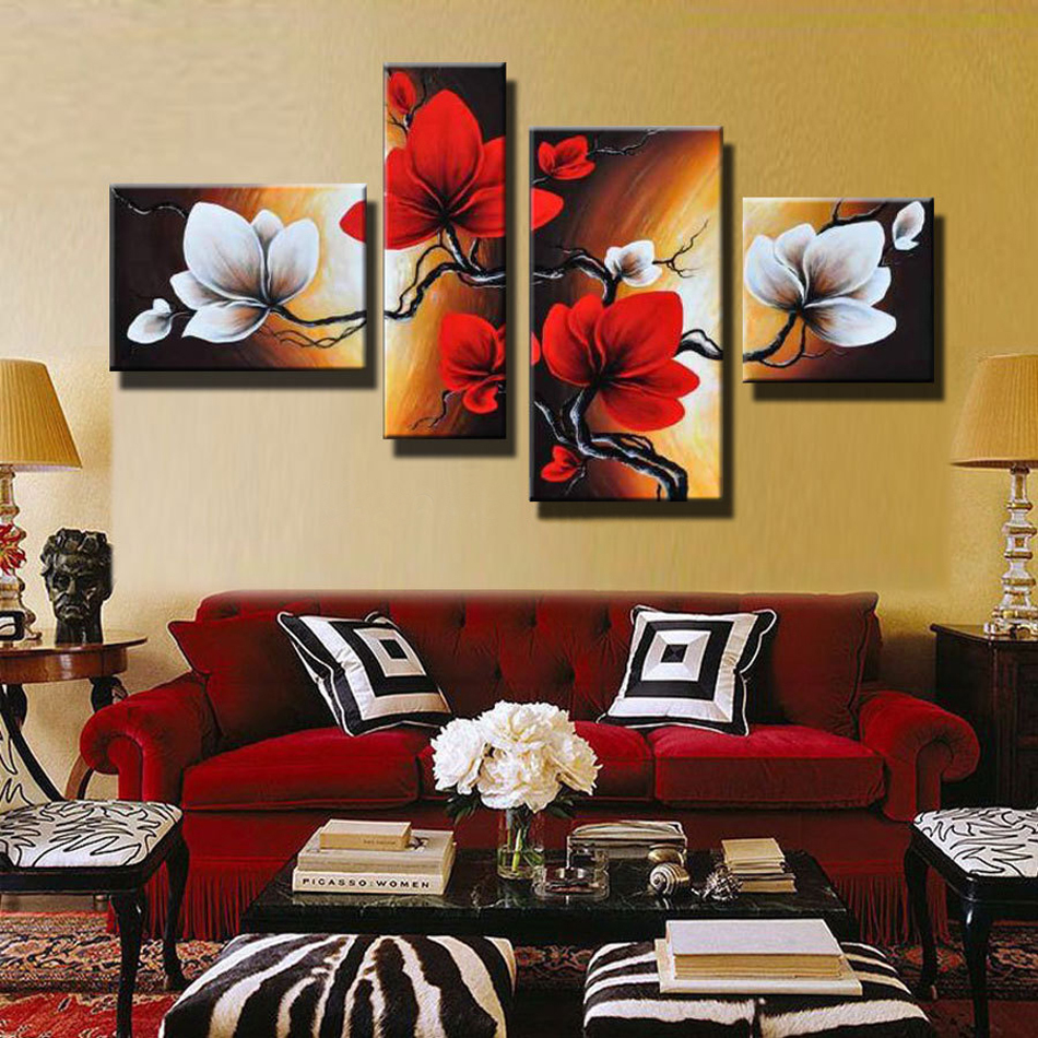 Modern Abstract Flower Oil Painting Hand Painted Red White Wall Art Canvas 4 Panel Home Decoration Picture For Living Room Sale