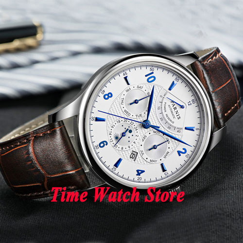 42mm parnis watch 26 jewels MIYOTA 9100 Automatic movement white dial power reserve sapphire glass Multifunction