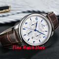 42mm parnis white dial Multifunction Sapphire Glass 26 jewels miyota 9100 Automatic mens Watch 537 relogio masculino