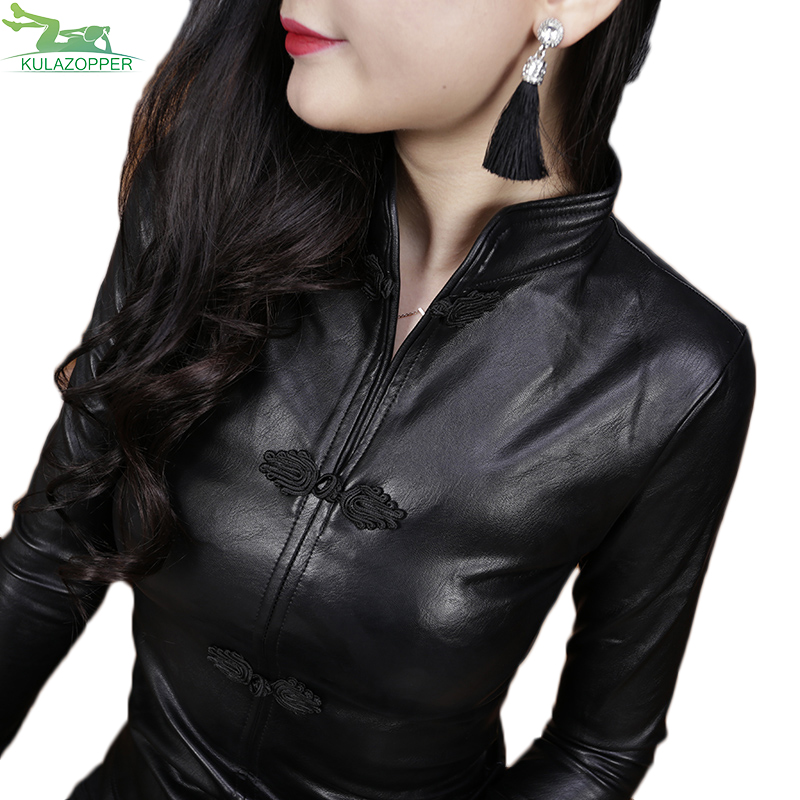 2018 spring new   leather   coat women's jacket faashion PU   leather   stand collar full sleeve slim shirt outwear female tops ER135