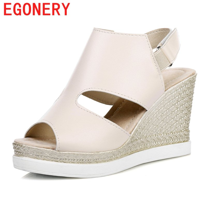 EGONERY fashion sandals woman new style platform wedges high heel back strap high heels party shoes pigskin insole shoes 2017 summer platform wedges party shoes for woman extreme high heels sexy wedding shoes woman comfort female shoes heel