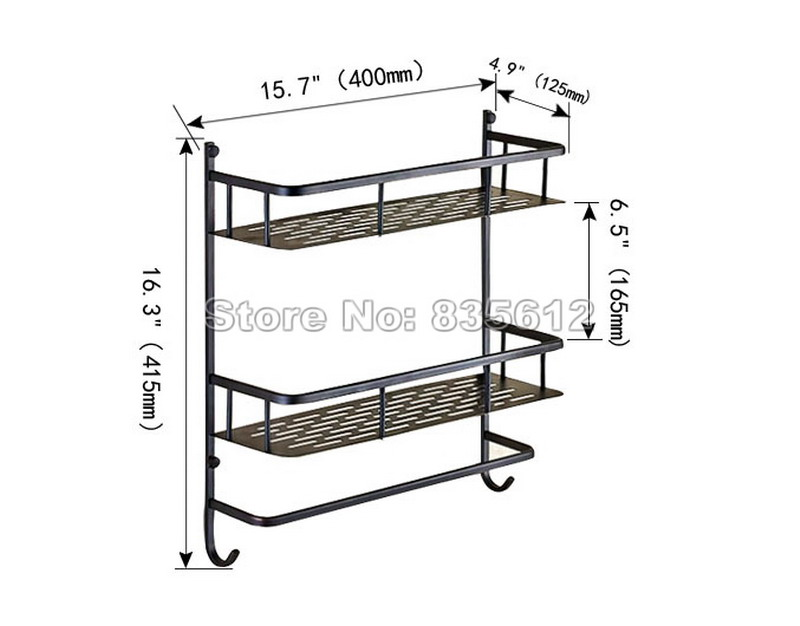 Black Oil Rubbed Brass Shelves 2 Tier Basket Wall Mounted Bathroom ...