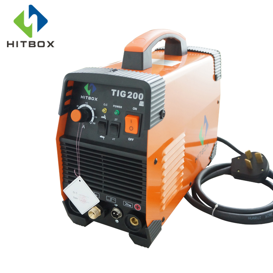 HITBOX INVERTER WELDER DC GAS TIG200 WELDING MACHINE TIG MMA FUNCTION 220V IGBT WELDING MACHINE PORTABLE SIZE WELDING EQUIPMENT jasic hf arc mos inverter dc tig200 tig welding mma welding machine 2 in 1 welder