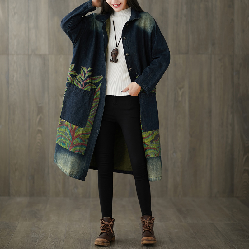 Women Loose Printed Denim   Trench   Coat Outwear Ladies Vintage Single Breasted Overcoat Female Bleached Denim Coat 2019 Autumn