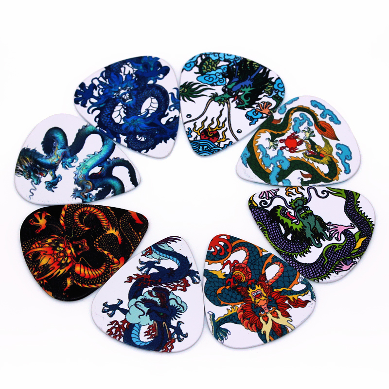 Zonael 0.71mm Guitar Picks High Stamping Quality Guitar Paddle Two Sides Grain Pick DIY Picks Parts Chinese Dragon 2S3-3