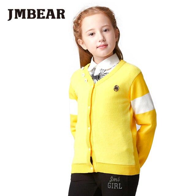 JMBEAR 6-14 лет дети одежда мальчиков/девочек свитера осень зима пиджаки лоскутная стиль 2016 мода девочек в школу и свадьба