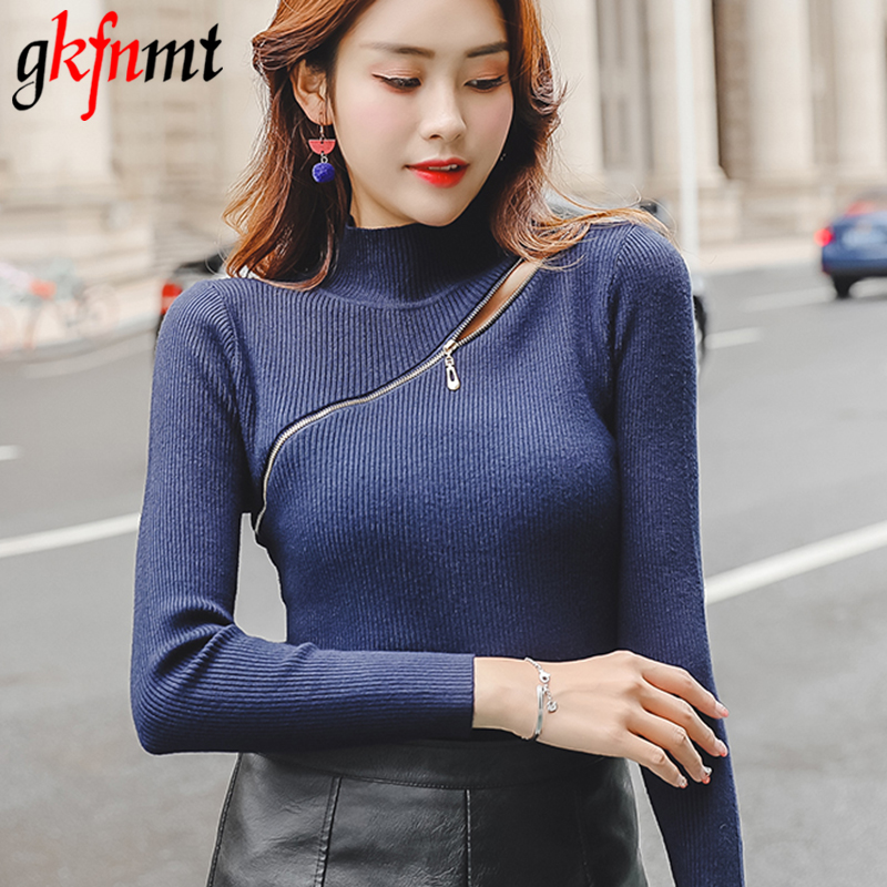 a717d74c17 Pull Femme Half Turtleneck Women Sweater And Pullover Zipper Basic Sweaters  2019 Sprint Autumn Korean Solid Knit White Red Tops