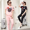 Europe Station 2017 summer new fashion style solid color printed T-shirt cotton casual pants suit tracksuit for women