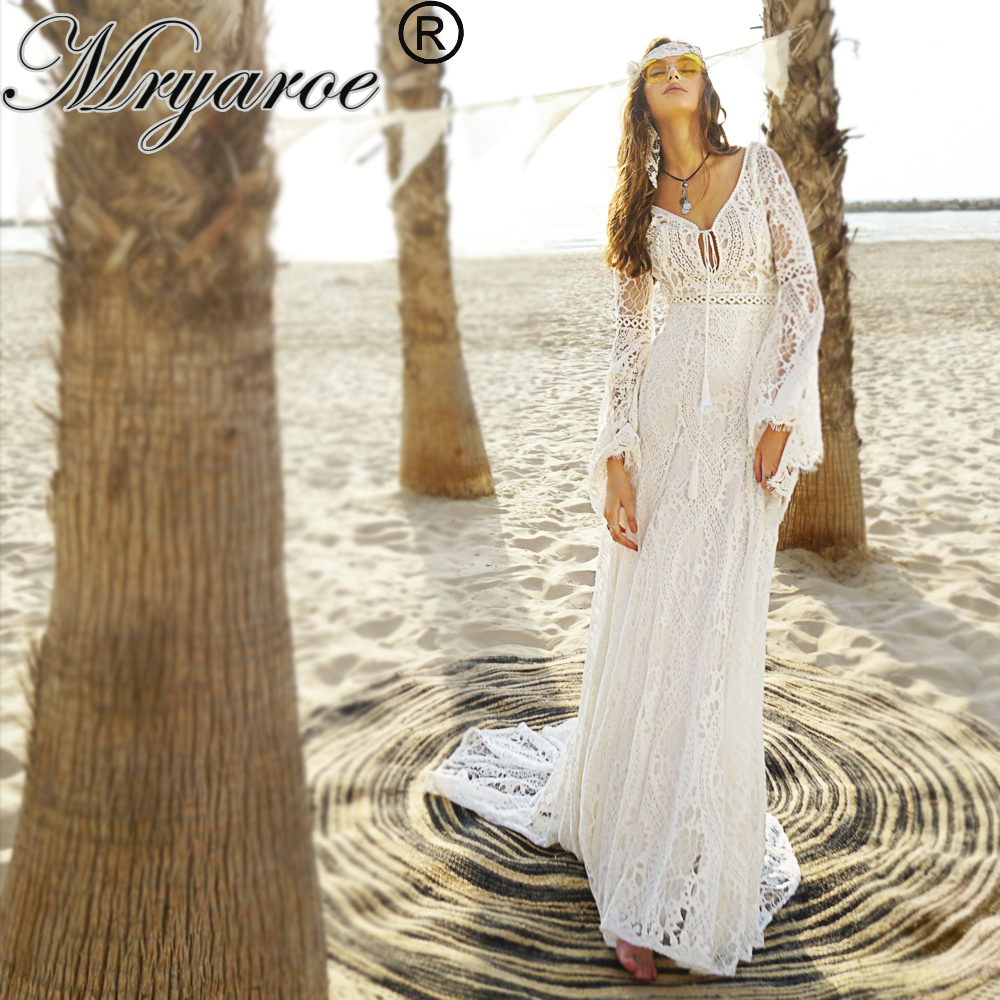 Mryarce Luxury Bridal Gown French Lace Boho Chic Open Back Wedding Dress Flare Sleeves