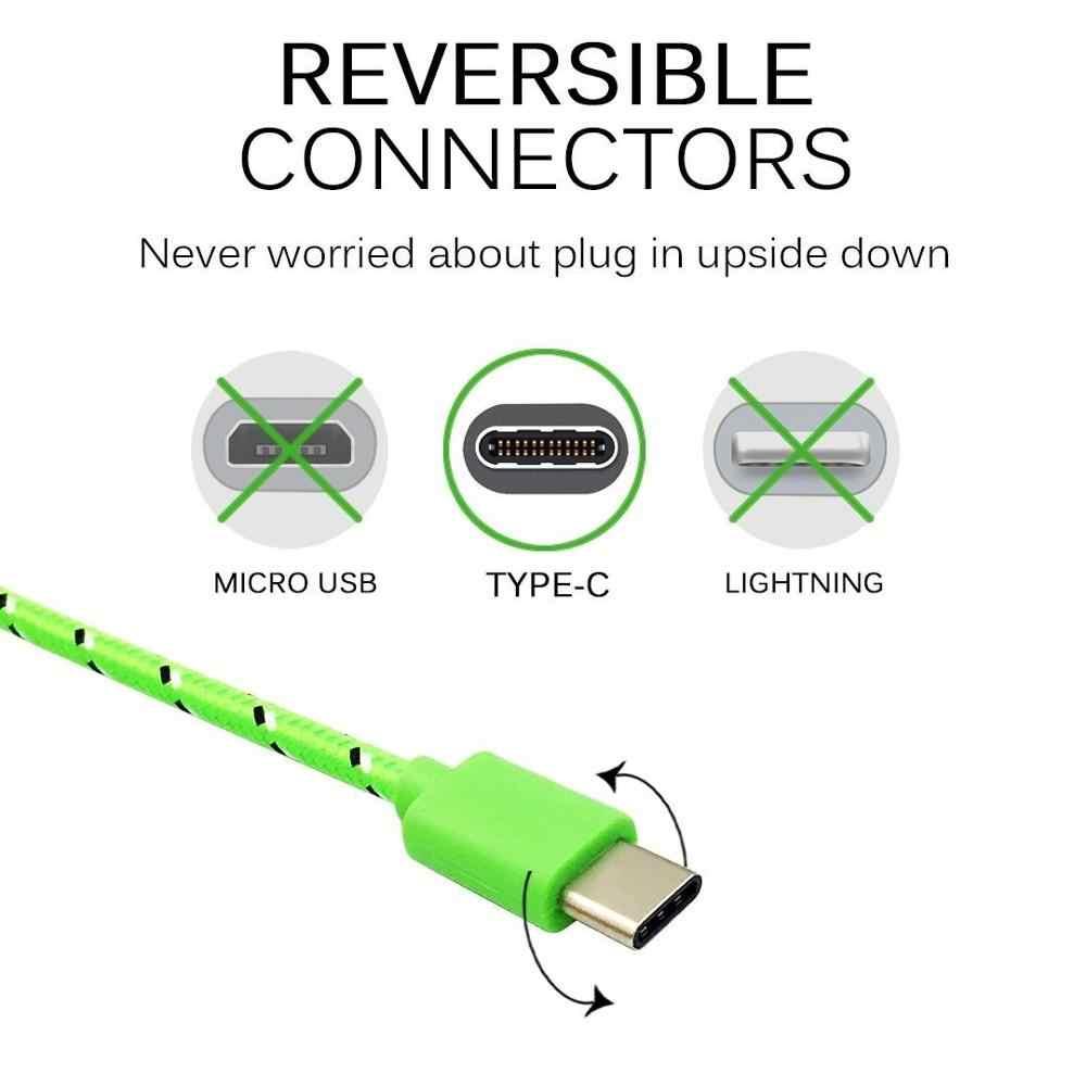 Charge rapide type-c USB C câbles de téléphone portable 1 M/2 M/3 M câble de USB C Charge rapide pour Samsung S10 Plus Huawei câble tressé en Nylon