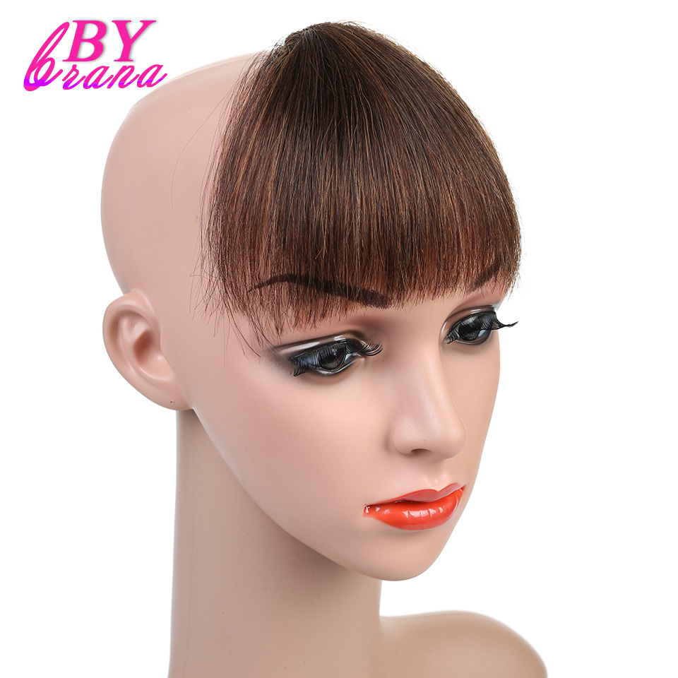 Bybrana 100% Human Remy Hair Front Neat Bangs Light Brown Color Clip In Human Hair Extensions Free Shipping