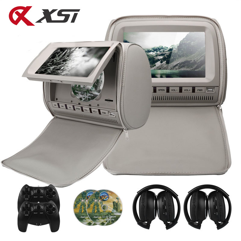 XST 2PCS 9 Inch 800*480 TFT LCD Capacitance Screen Car Headrest Monitor DVD Video Player Support IR/FM/USB/SD/Speaker/Wire Game