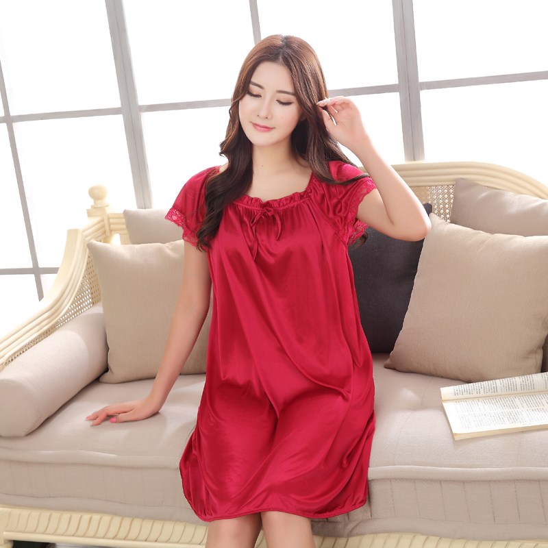 Sexy Lace Large size Bust 125CM Women Sleep Wears Short sleeved Nightgown  Slim Girl Casual Satin Silk Sexy Onesizes Nightgowns-in Nightgowns    Sleepshirts ... 322d894e6