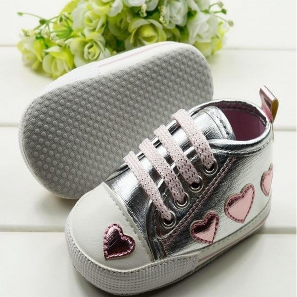 Toddler Baby Girl Cute Silver Crib Heart Walking Soft Sneaker Shoes 0-18 M 4