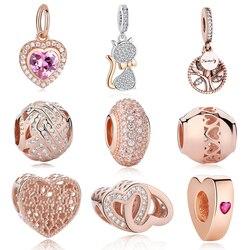 EVOJEW Real 925 Sterling Silver Beads Rose Gold Rabbit Cat Family Tree Heart Charm Beads Fits Pandora Bracelets DIY Jewelry