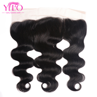 Peruvian Body Wave Lace Frontal 13*4 Ear To Ear Free Part 130% Density Lace Closure YELO Non Remy Hair Human Hair Free Shipping