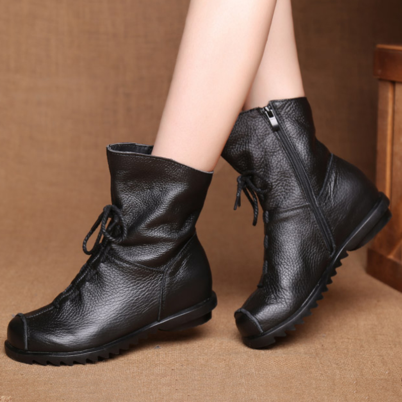 Lucyever New Autumn Winter Vintage Genuine Leather Women Handmade Ankle Boots Leisure Flats Platform Shoes Woman Big Size 35-42 new autumn winter thick heel boots genuine leather ankle shoes vintage platform shoes handmade women boots lady plus size 35 43