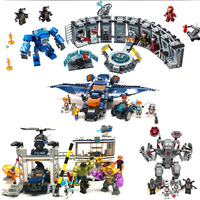 Super Heroes model building blocks marveled The Outriders Attack War Machine Avengerss Ultimate Quinjet Children Toys