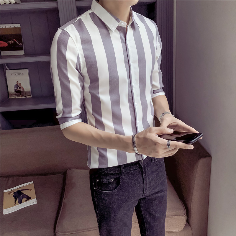 2018 Summer New Pattern Fashion Tide Male Coarse Stripe Seven Part Sleeve Shirt letter personality city boy trend Free shipping