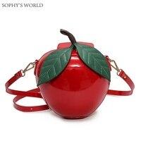 Прекрасный Сумки для 2017, Женская обувь Кожа Сумки через плечо красный мешок яблок женский Курьерские сумки листья мини Сумки клатч кошелек