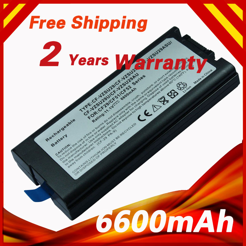 6600mAh 11.1v laptop battery for Panasonic CF-29 CF-29A CF-29E CF-51 CF-52 ToughBook- 51 52 CF-VZSU29 CF-VZSU29AU CF-VZSU29ASU ag552 2k cf