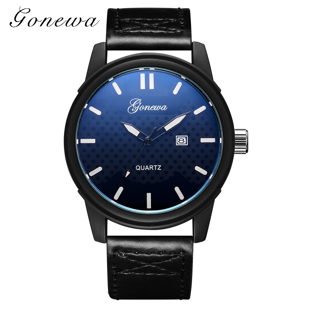 Gonewa Brand Fashion Men Watch Clock Class Black Leather Business Wristwatch Quartz-Watches Men Luxury Sport Casual Watch Gift