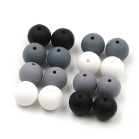 Silicone Beads White Gray Black 12mm 15mm Round beads Set Food Grade Silicone Perfect for Teether Toys Jewelry Crafts 20pcs