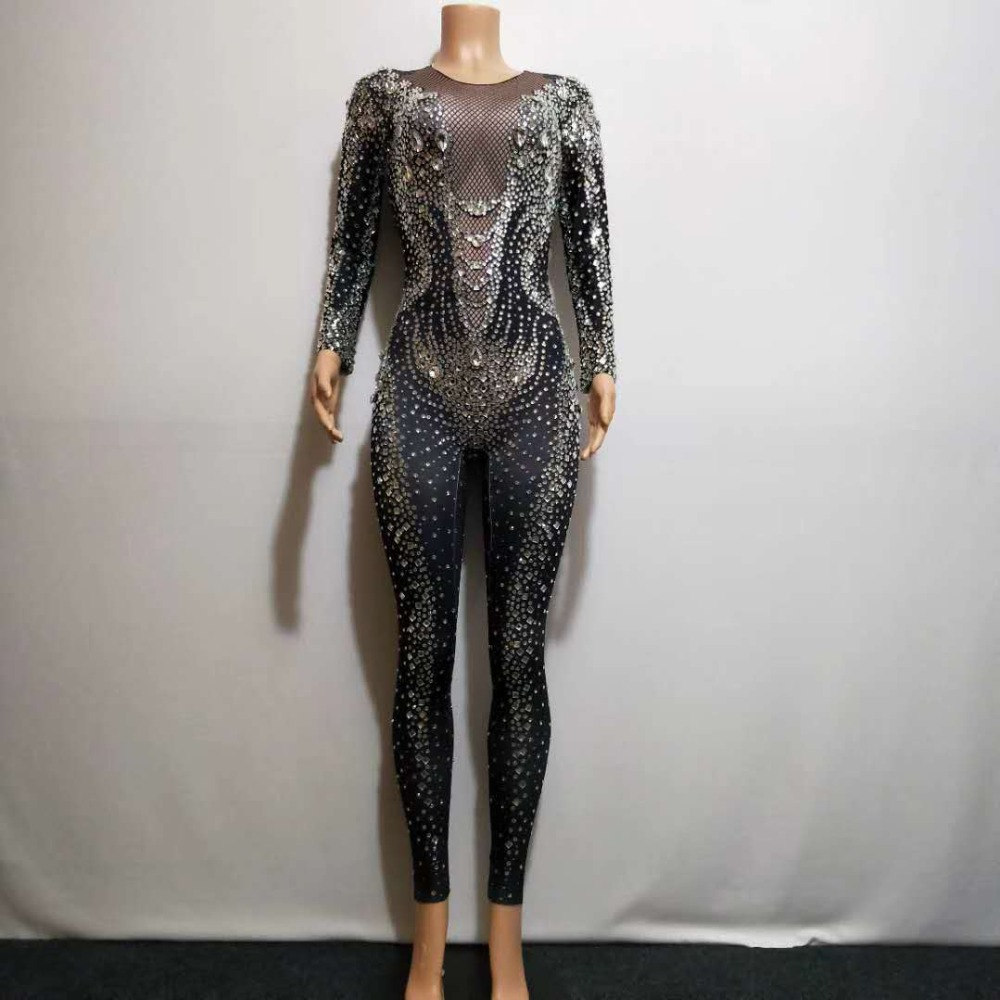 2019 Black Rhinestones Pearls Jumpsuit Bar Dance Clothing Stretch Bodysuit Leggings Nightclub Female Singer Show Costume Outfit